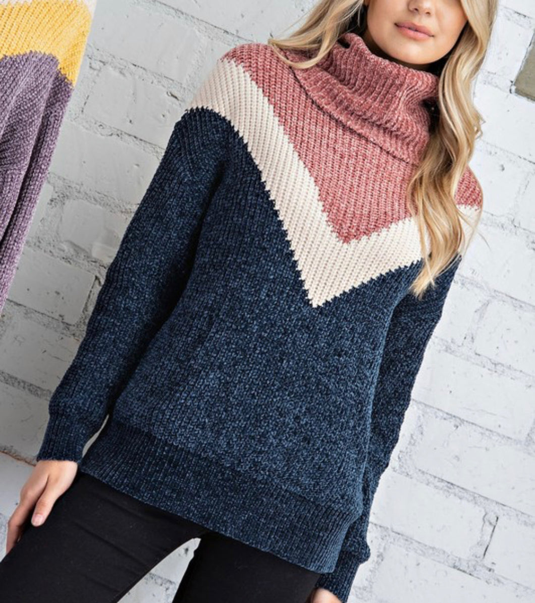 Colorblock chevron pullover - navy
