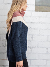 Load image into Gallery viewer, Colorblock chevron pullover - navy