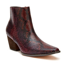 Load image into Gallery viewer, BURGUNDY SNAKE BOOTIE - BURGUNDY