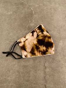 ADULT TIEDYE FACE MASK - BROWN / BEIGE