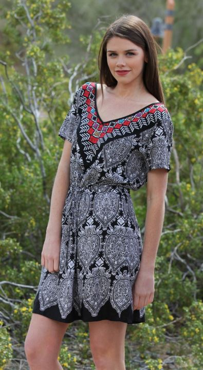 PRINTED BOHO V NECK DRESS - BACK