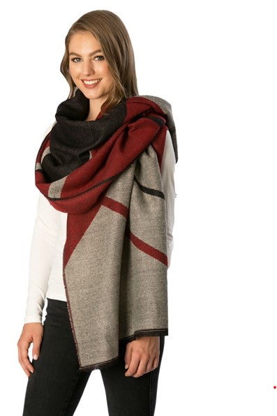 Color Block scarf - Burgundy