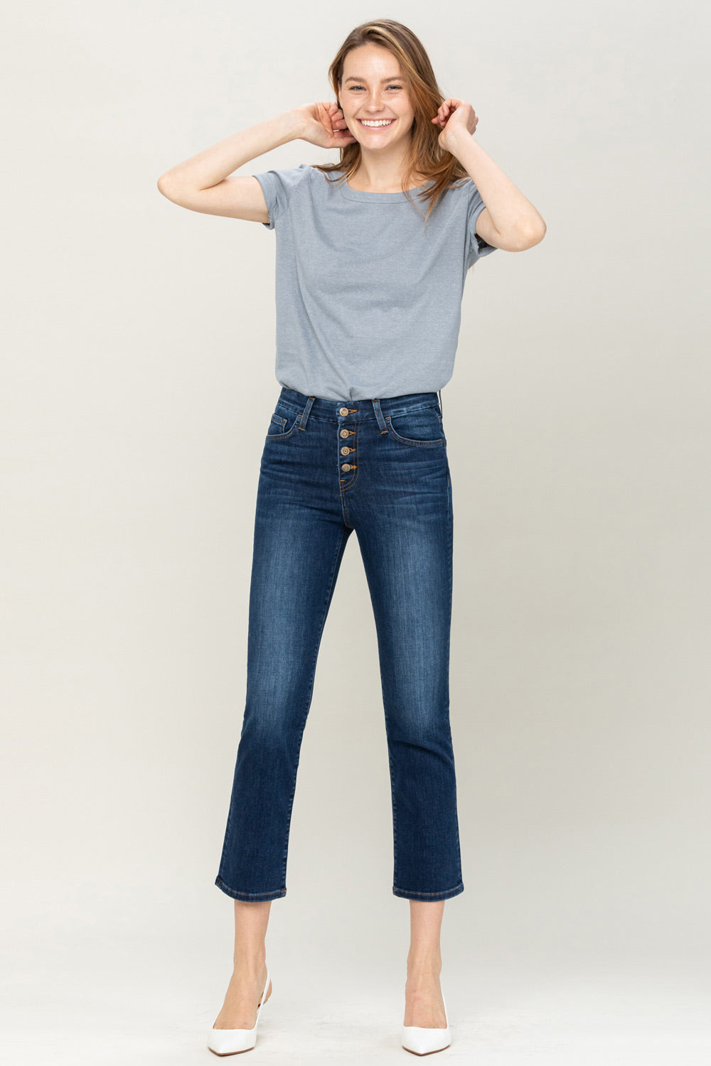 Button up high rise jeans - mammoth