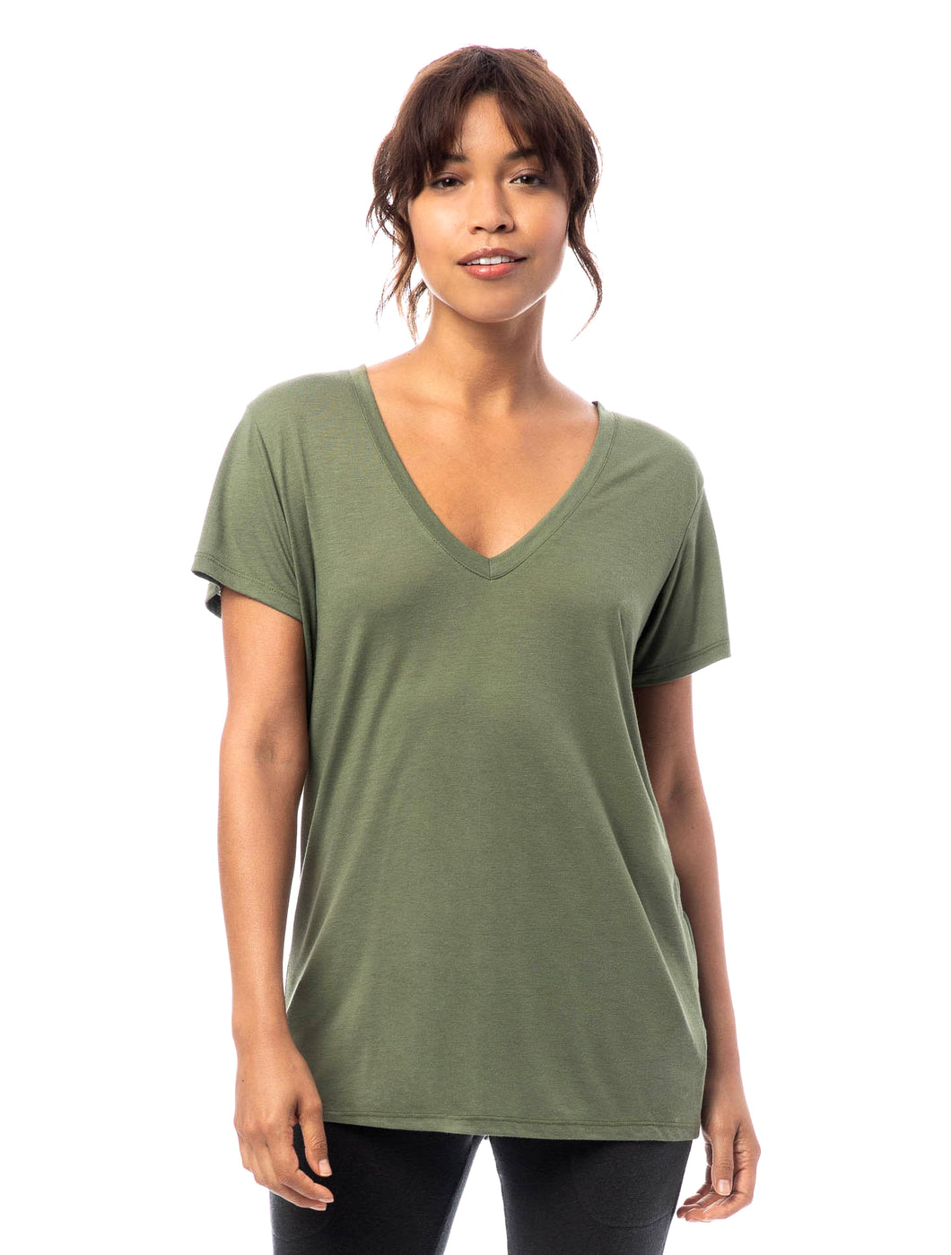 SLINKY V NECK - ARMY GREEN
