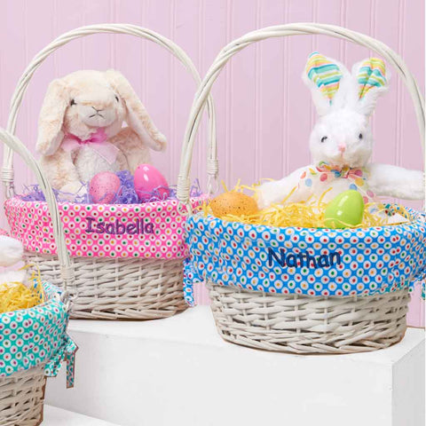 Personalized easter gifts dibsies personalization station colorful dots easter baskets negle Image collections