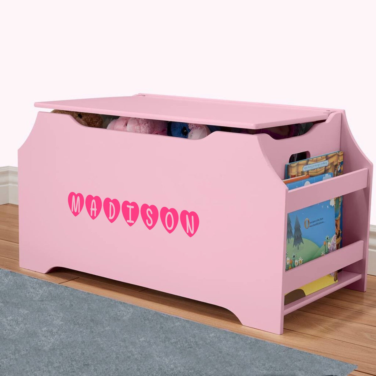 Personalized Dibsies Kids Toy Box with Book Storage - Pink