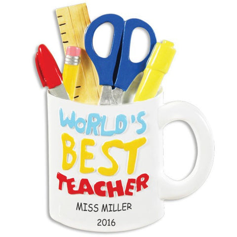Personalized World's Best Teacher Christmas Ornament