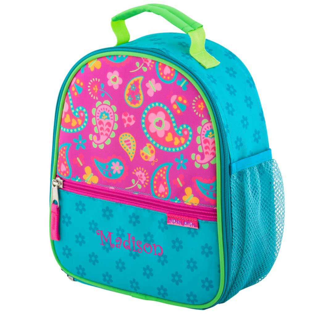 Personalized Trendsetter Paisley Hearts and Flowers Lunch Box