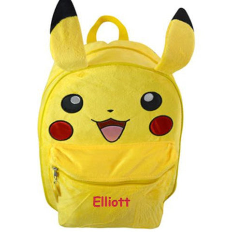 Personalized Pokemon Pikachu Backpack with Plush Front - 16 Inch