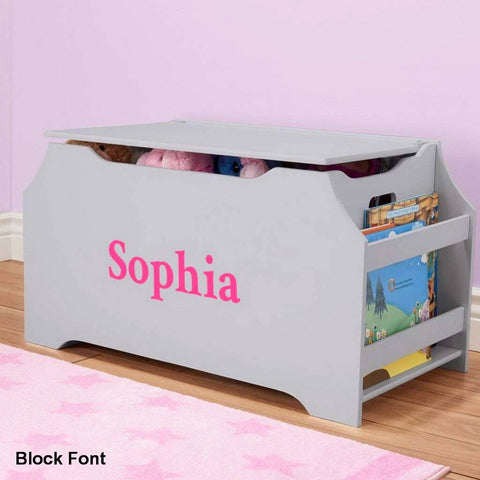 Personalized Dibsies Kids Toy Box with Book Storage - Gray