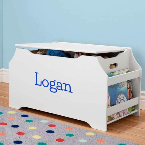 Personalized Dibsies Kids Toy Box with Book Storage - White for Boys