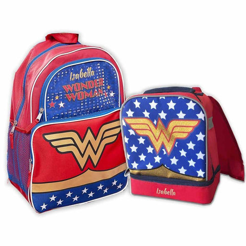Personalized Wonder Woman Backpack & Lunch Box Combo