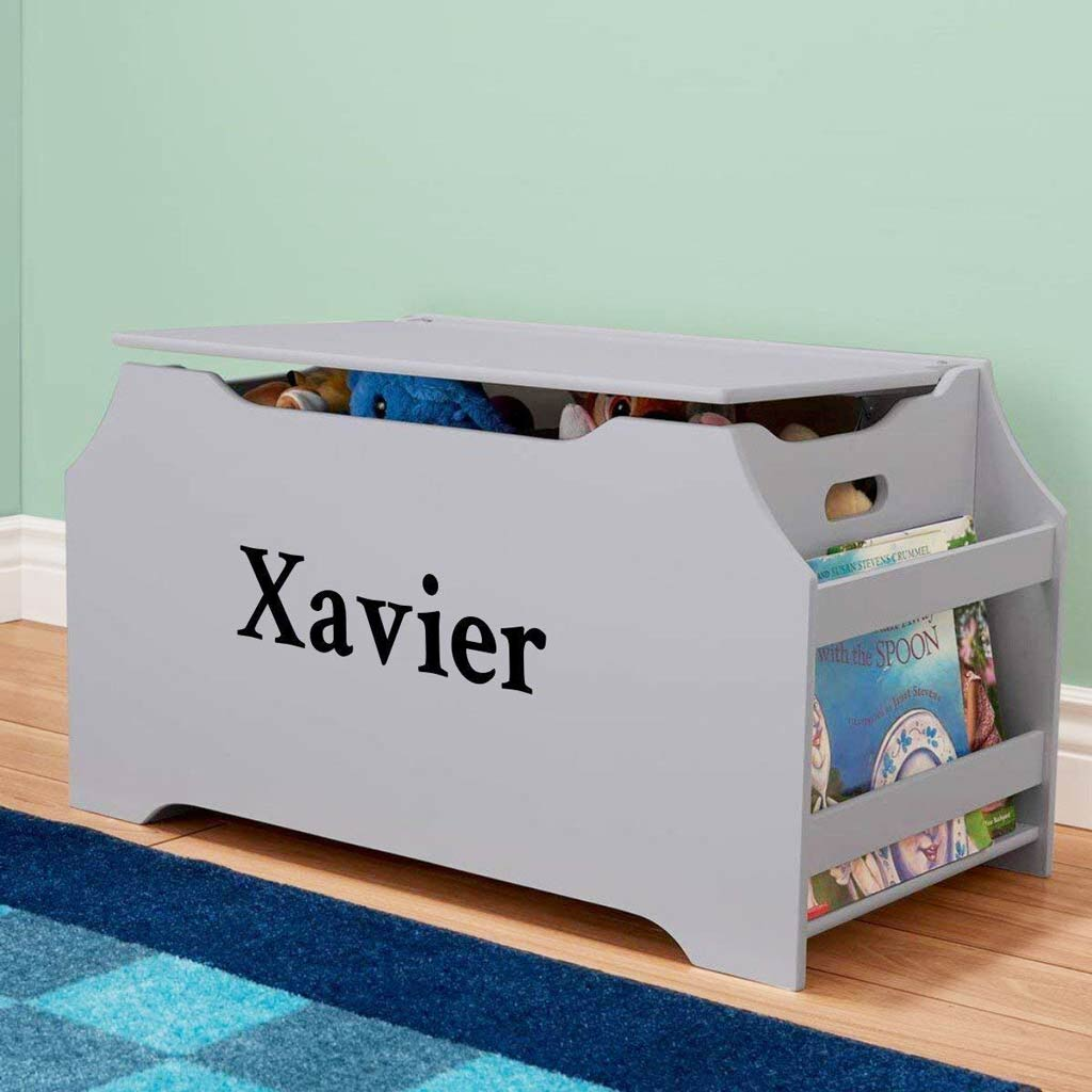 Personalized Dibsies Kids Toy Box With Book Storage   Gray For Boys