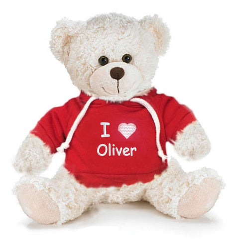 Personalized Valentine's Snuggle Teddy Bear - Cream, 13 inch
