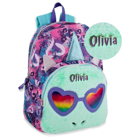 Personalized Purple Rainbow Shades Unicorn Backpack with Plush Front Pocket - 16 inch