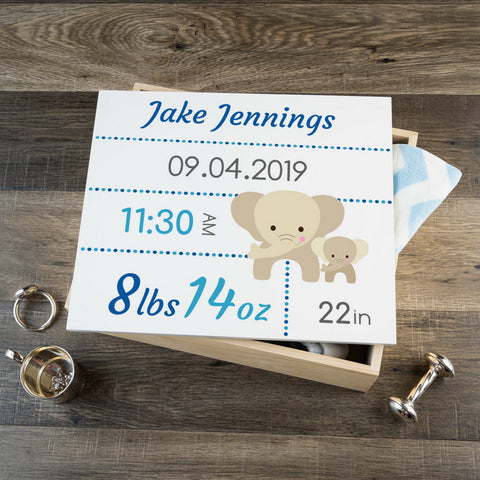 Personalized Baby Keepsake Box - Blue with Elephants - Large Size