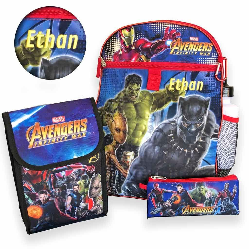 "Personalized 16"" Marvel Avengers Infinity War Backpack with Bonus Lunch Bag, Water Bottle, Pencil Case, and Carabiner Clip."