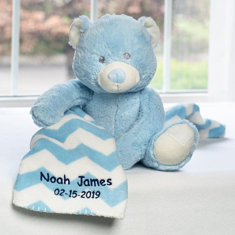 Personalized Dibsies Baby Teddy Bear & Blanket Set - Blue