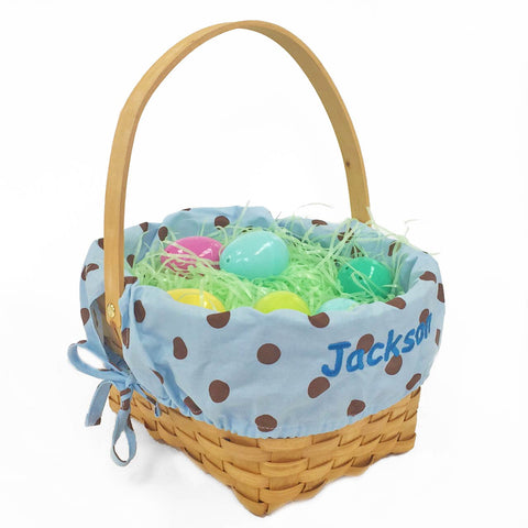 Personalized Woodchip Easter Basket - Blue with Chocolate Polka Dots