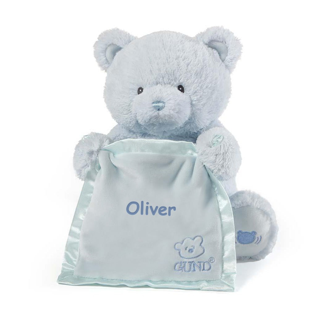 Personalized Gund Peek a Boo Bear - Blue