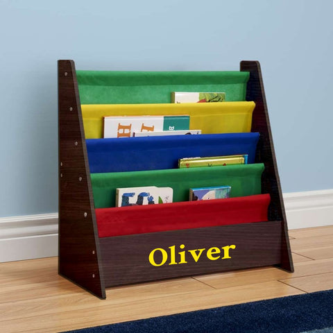 Personalized Dibsies Kids Bookshelf - Espresso with Primary Fabric