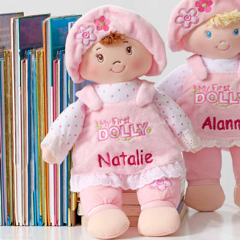 Personalized Baby Gift - My First Dolly - Brunette - 13 inch
