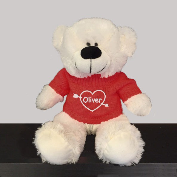 Personalized Valentine's Heartstruck Snuggle Teddy Bear - White with Red Sweater, 12 inch