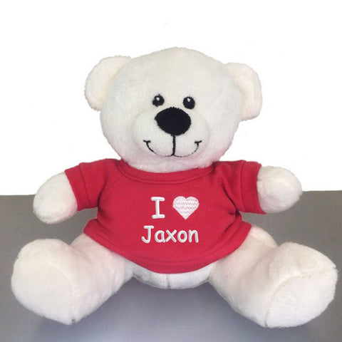 Personalized Valentine's Snuggle Teddy Bear - White, 10 inch