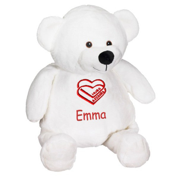 Personalized Valentine's Premium Plush Hugs and Kisses Teddy Bear - White