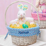 Personalized Colorful Dots Easter Basket - Blue