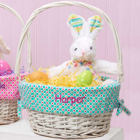 Personalized Colorful Dots Easter Basket - Teal