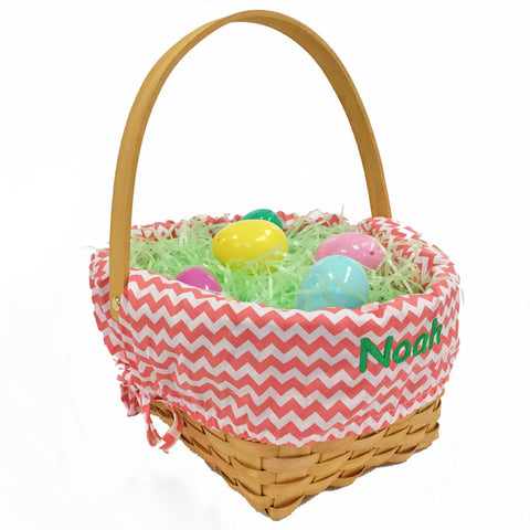 Personalized Woodchip Easter Basket - Coral Chevron