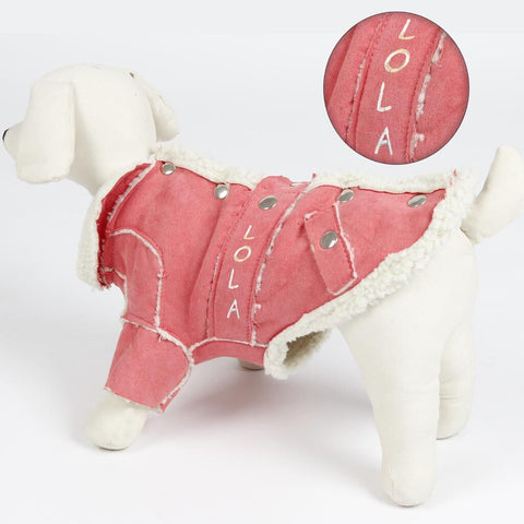 Personalized Trendy Dog Coat with Faux Fur Lining - Pink