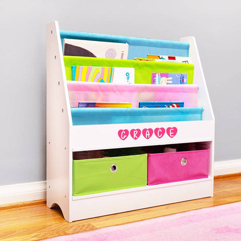 Personalized Dibsies Kids Bookshelf With Storage - White with Pastel Fabric