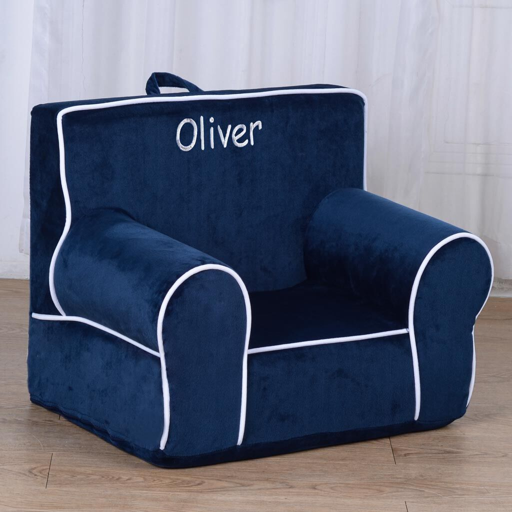 Personalized My Anytime Chair for Toddlers - Ages 1.5 to 4 Years Old - Blue with White Piping