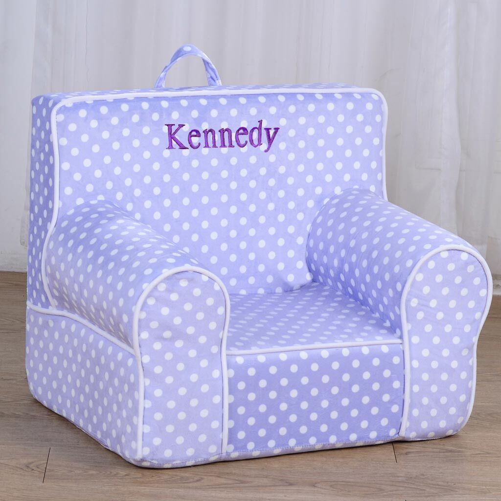 Personalized My Anytime Chair for Toddlers - Ages 1.5 to 4 Years Old - Light Purple with White Dots