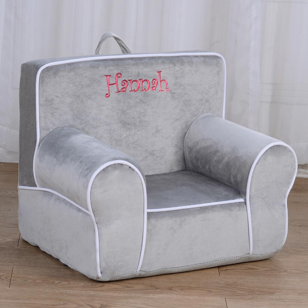 Personalized My Anytime Chair - Gray with White Piping