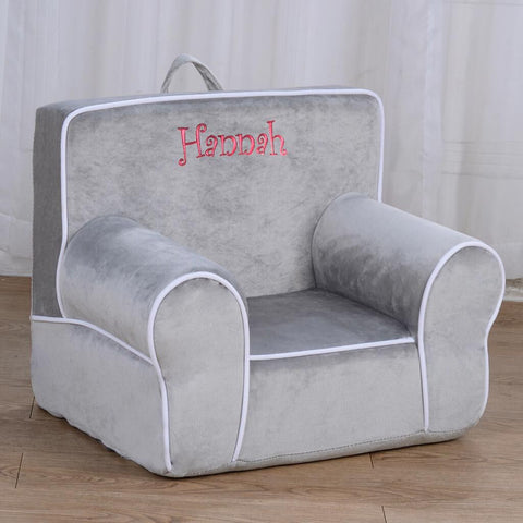 Personalized My Anytime Chair for Toddlers - Ages 1.5 to 4 Years Old - Gray with White Piping