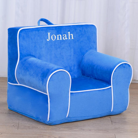 Personalized My Anytime Chair for Toddlers - Ages 1.5 to 4 Years Old - Ocean Blue with White Piping