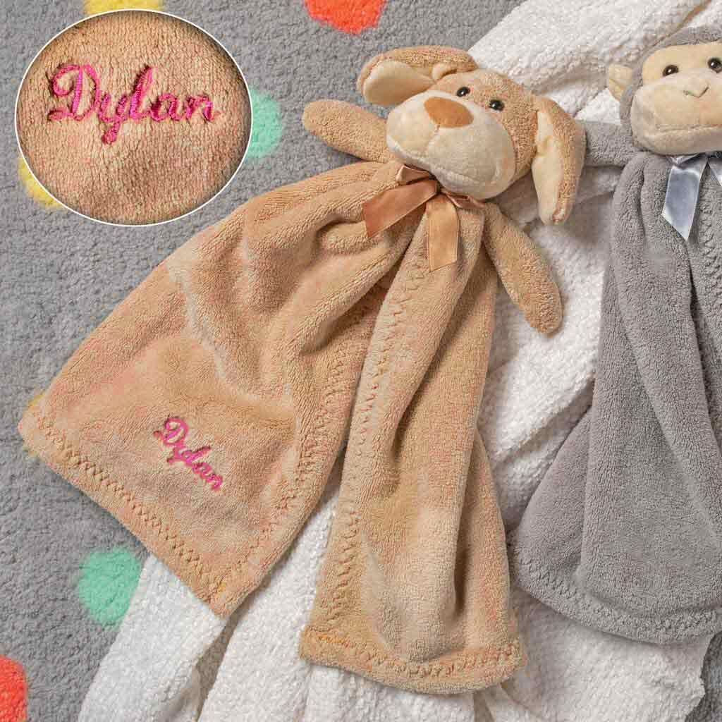 Personalized Plush Baby Cuddler - 17 inch - Monkey and Puppy