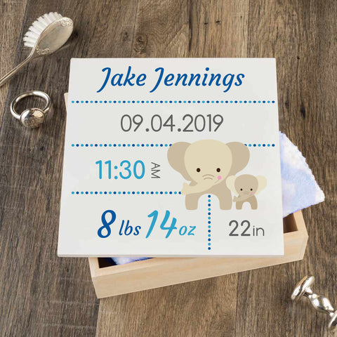 Personalized Baby Keepsake Box - Blue with Elephants - Regular Size