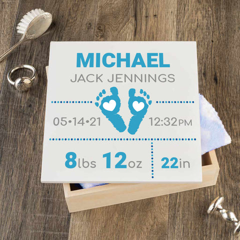 Personalized Baby Keepsake Box - Blue with Footprints - Regular Size