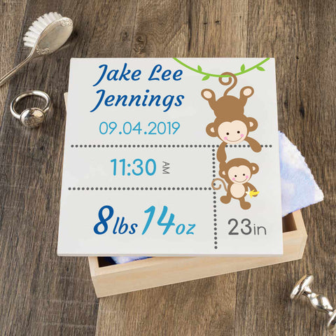 Personalized Baby Keepsake Box - Blue with Monkeys - Regular Size