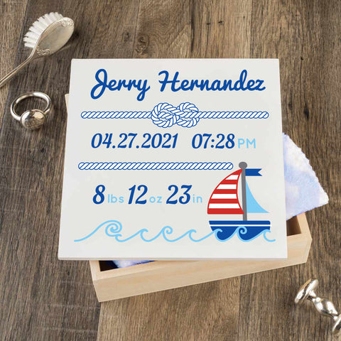 Personalized Baby Keepsake Box - Blue with Nautical - Regular Size