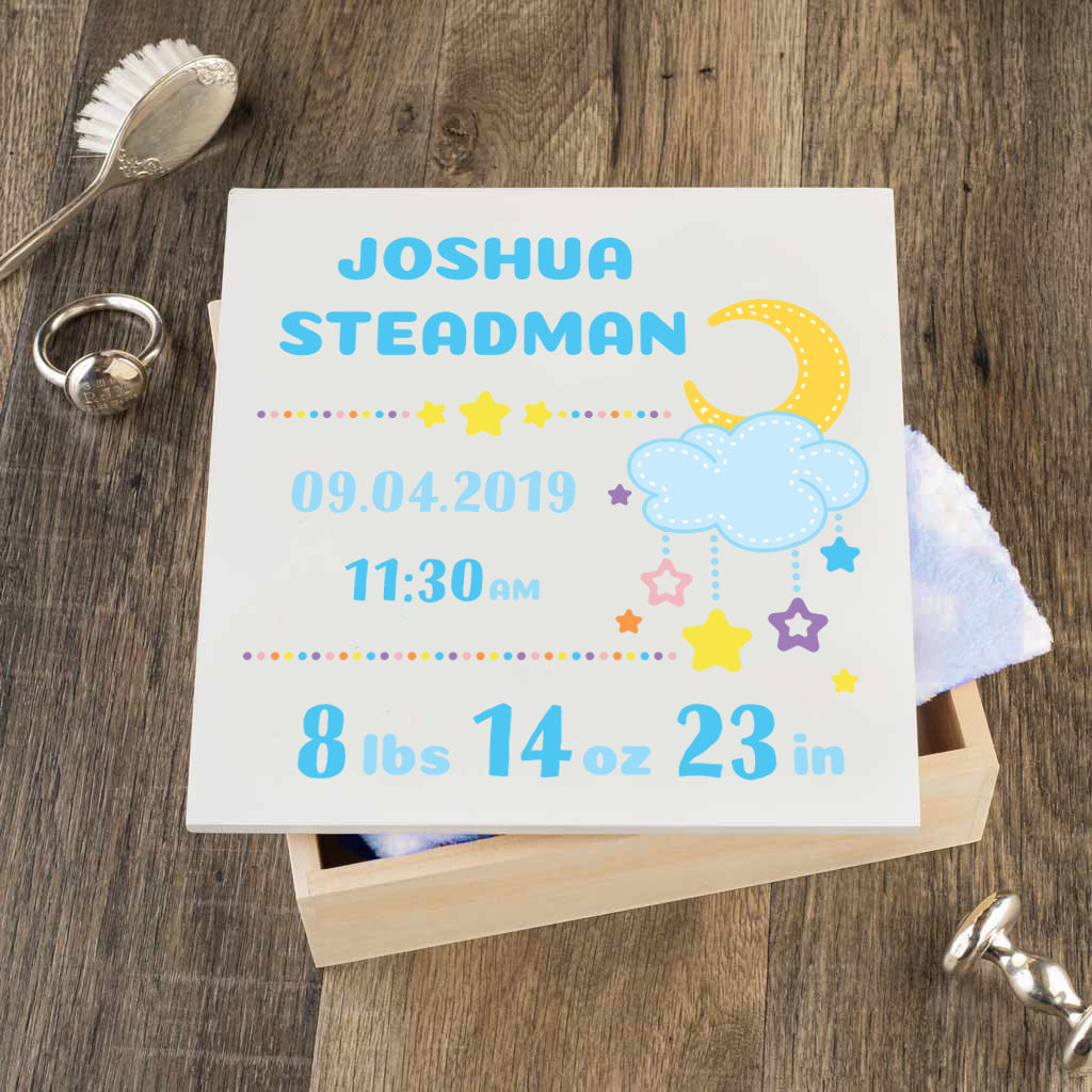 Personalized Baby Keepsake Box - Blue with Stars - Regular Size