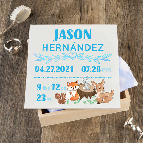 Personalized Baby Keepsake Box - Blue with Woodland Art - Regular Size