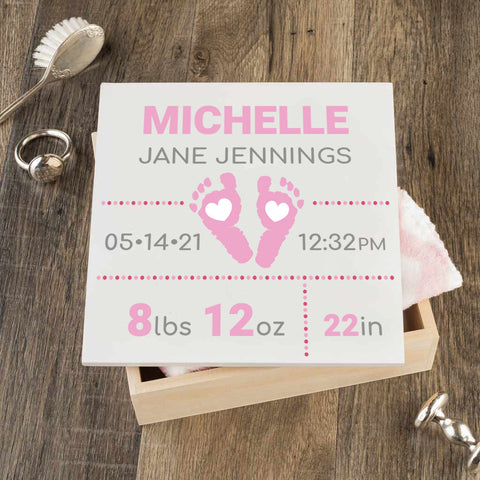 Personalized Baby Keepsake Box - Pink with Footprints - Regular Size