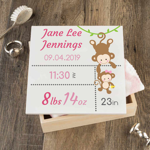 Personalized Baby Keepsake Box - Pink with Monkeys - Regular Size