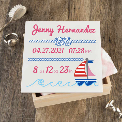 Personalized Baby Keepsake Box - Pink with Nautical - Regular Size