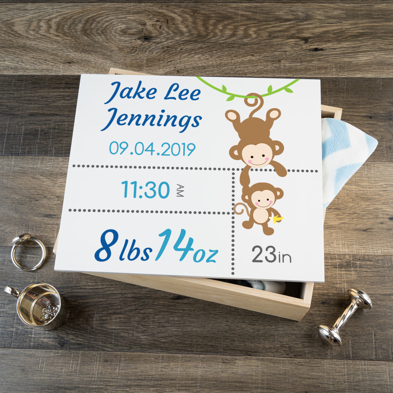Personalized Baby Keepsake Box - Blue with Monkeys - Large Size